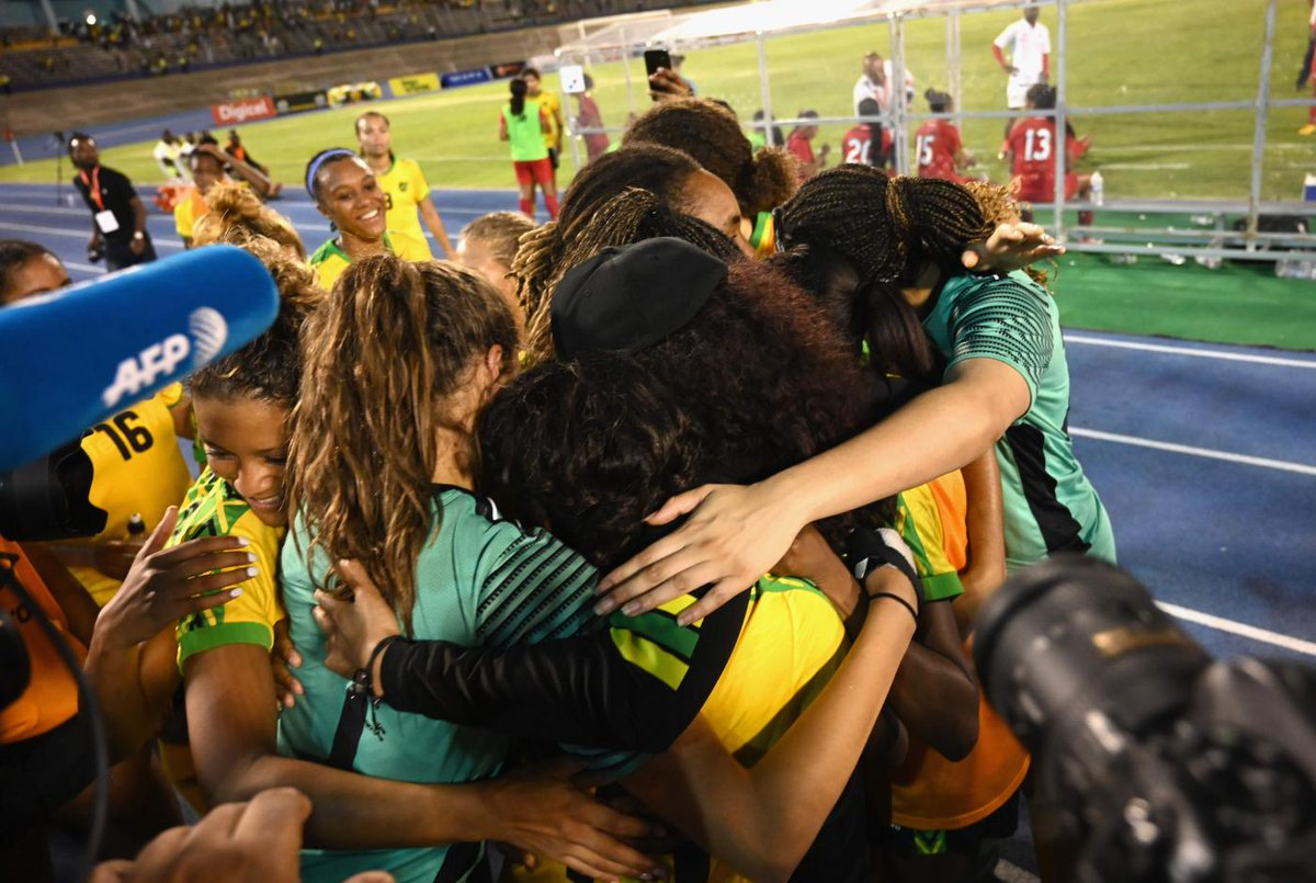 #TBT Wishing we could be this close this #NationalHuggingDay ❤️ For now, stay inside and stay safe. @reggae_girlz_f @jff_football #WearAMask #CHO!