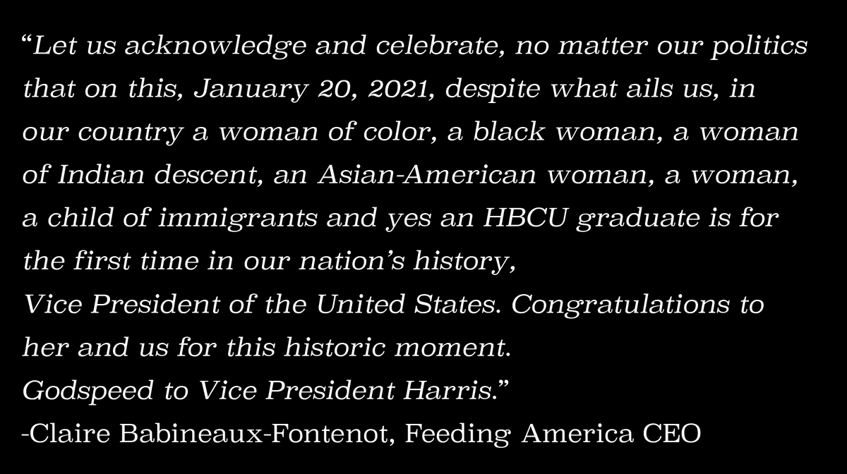 Words from Claire Babineaux-Fontenot, Feeding America CEO on today's historic Inauguration: https://t.co/LoIQgYKjjt