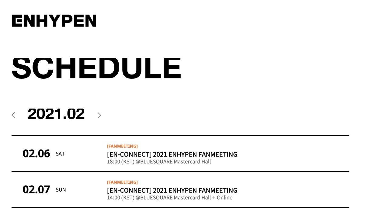 INFO》#ENHYPEN #엔하이픈 @ENHYPEN_members  @BELIFTLAB actualizó el cronograma de #ENHYPEN en Febrero en éste se confirman las fechas de [EN-CONNECT] 2021 ENHYPEN FANMEETING. 👉