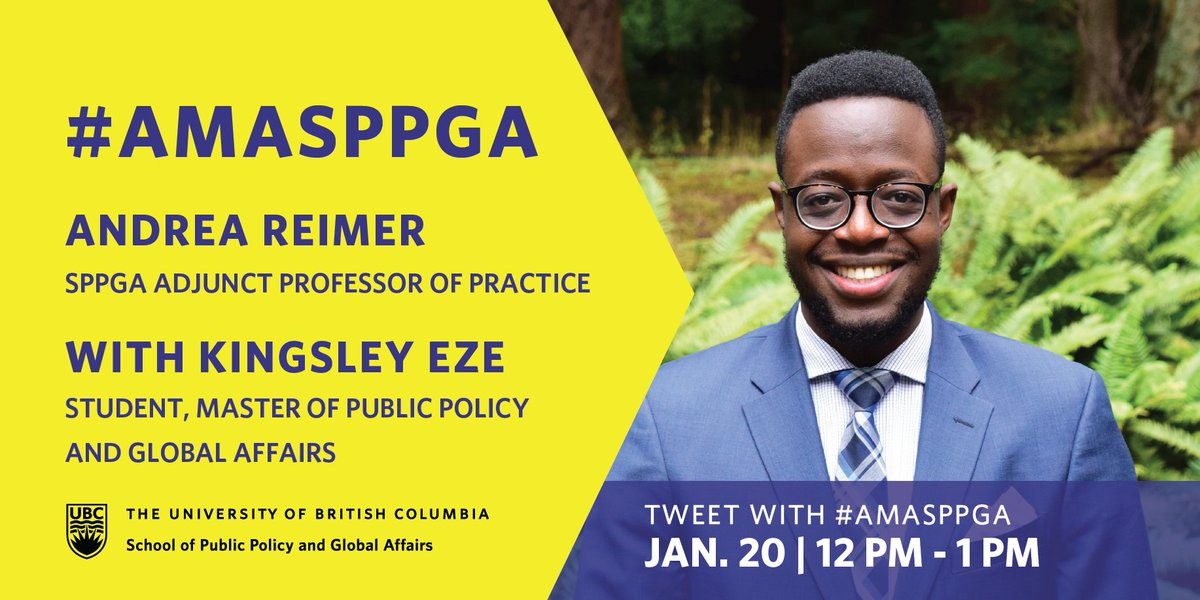 Join @andreareimer, SPPGA Adjunct Professor of Practice, on January 20 at 12:00 PM for her AMA here on Twitter with @kingsley_eze, Master of Public Policy and Global Affairs student:  #power #policy