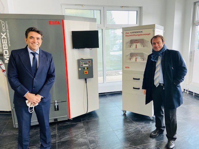 Happy to meet Hon'ble @AKulitz MdB @Bundestag today 20.01.2021 & brief about #LargestVaccineDrive, #AatmaNirbharBharat and discuss #IndiaGermany trade and investment ties. Great to visit ESTA, a dynamic Mittelstand company providing clean air solutions.