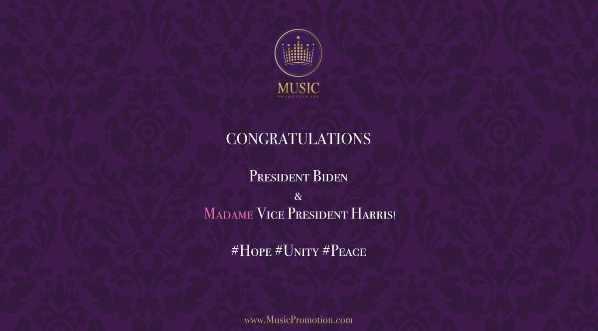 Congratulations President Biden & Vice President Harris! @POTUS @VP #Unity #Hope #Peace #USA