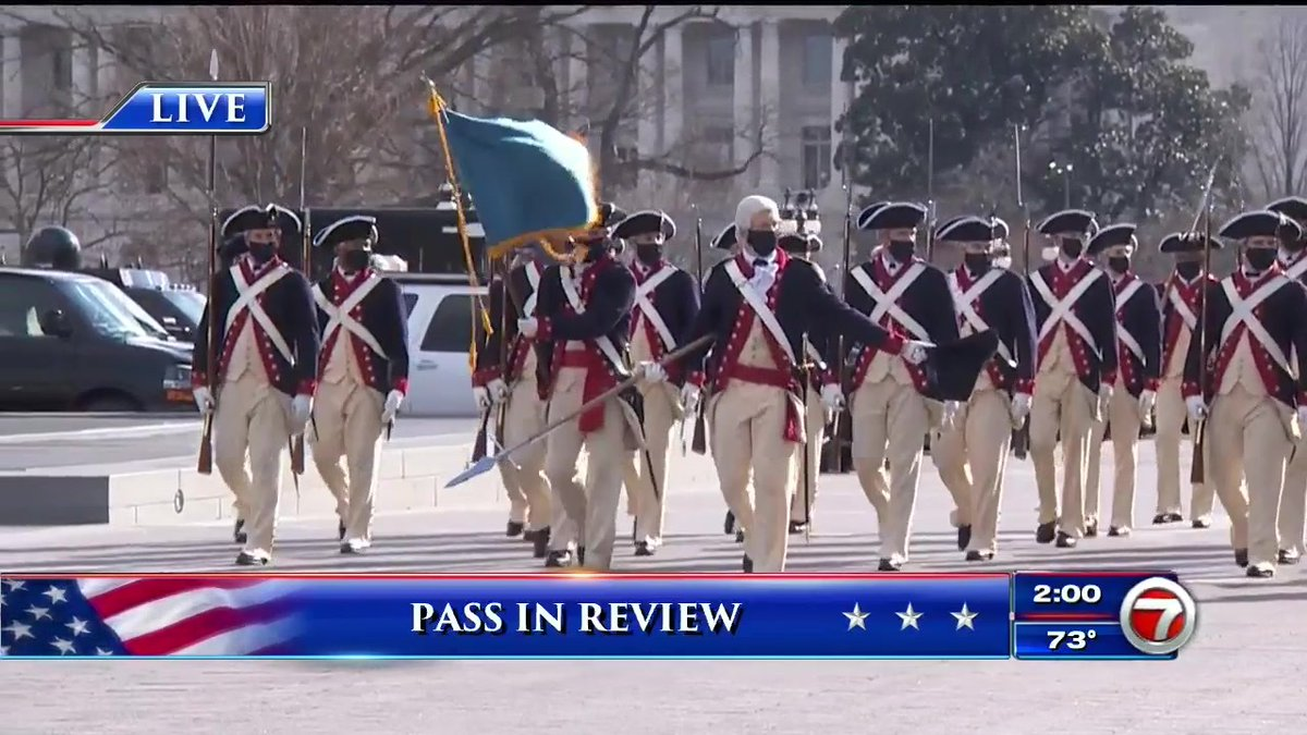 """President Joe Biden, First Lady Dr. Jill Biden, Vice President Kamala Harris and Second Gentleman Doug Emhoff take part in the """"Pass of Review,"""" which signals the peaceful transfer of power to a new commander-in-chief."""