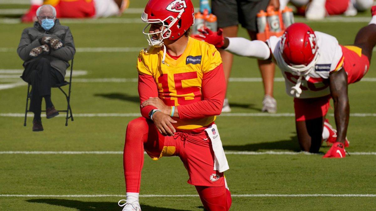 NFL making sure @PatrickMahomes follows protocol #ChiefsKingdom #RunItBack #BillsMafia