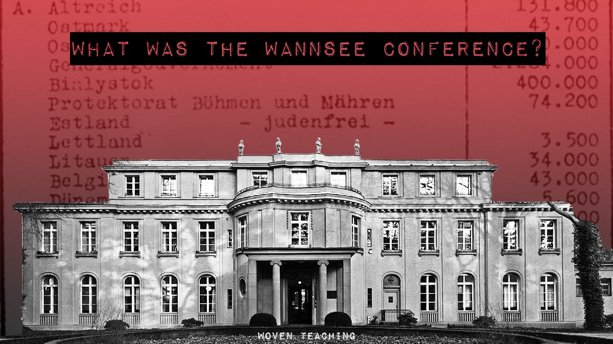 "#OTD in 1942, 15 Nazi officials met outside of Berlin. The purpose of the mtg, known as the Wannsee Conference, was to ensure the cooperation of various govt agencies in the so-called ""Final Solution to the Jewish Question"" – the murder of Europe's Jewish population. 1/"