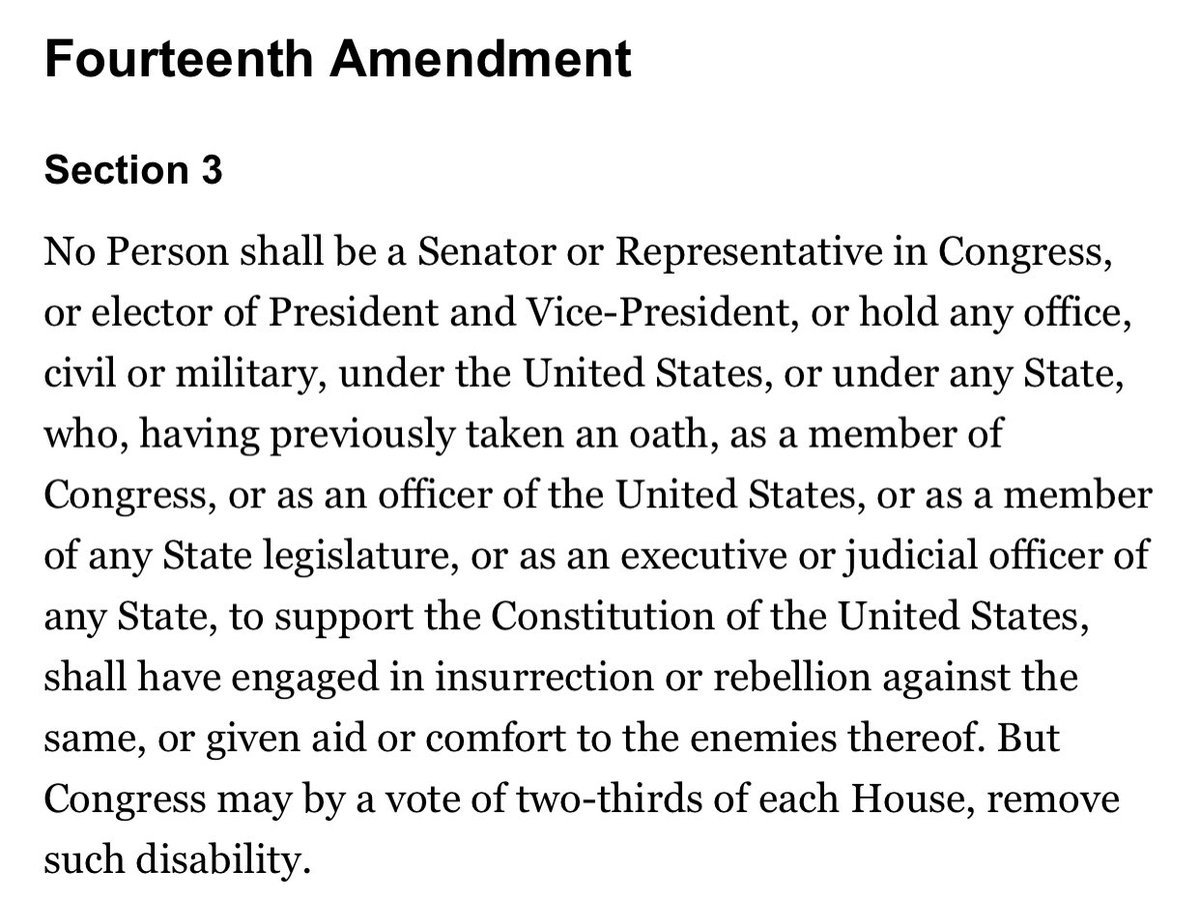 @laurenboebert Maybe you should start with the 14th Amendment. Section 3 would be good.