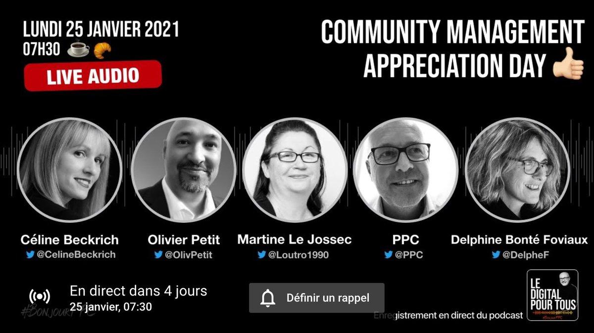 Comment définir le métier de Community Manager en 2021?   Découvrez les réponses de @CelineBeckrich, @loutro1990 et @DelpheF de @LaBrigadeDuWeb, ainsi que @olivpetit, sur le compte Twitter de @PPC et sur YouTube Live à 7h30.  #BonjourPPC #Podcast #CM #CMAD https://t.co/B5hSUpjGXz https://t.co/zbzEsMvCpl