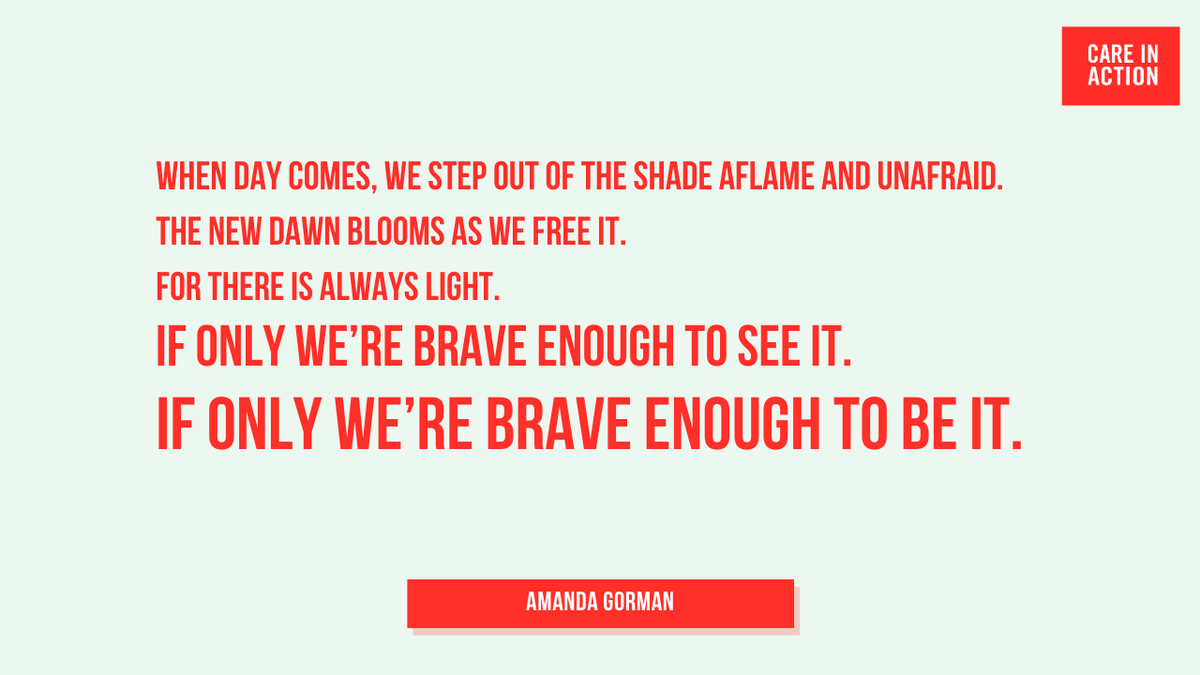 Youth Poet Laureate @TheAmandaGorman's words at today's Inauguration inspire us. The work is not done, but WE — the working women who keep our families and communities going — are the light that will rebuild our nation.