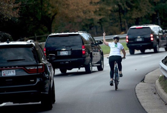 I've just now found out about this perfect little gem of information:  Do you remember Julie Briskman? She was the cyclist who gave the #Trump motorcade the finger. #Trump demanded she was fired, and she was. https://t.co/o18PXejvWE