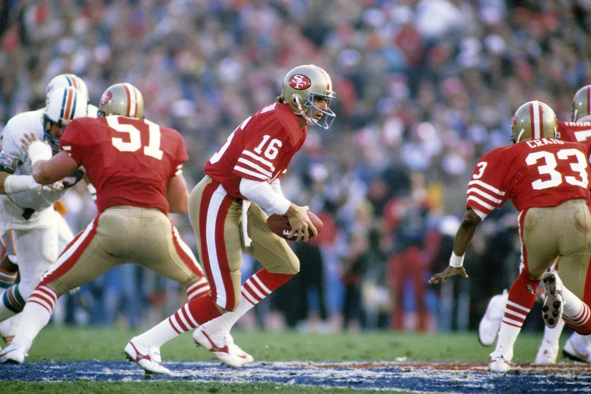 #OTD in 1985, the #SanFrancisco #49ers defeated the #Miami #Dolphins 38-16 in #SuperBowl XIX. QB Joe Montana was the #MVP throwing for 331 yards and 3 scores. #NFL #FinsUp #NFLTwitter