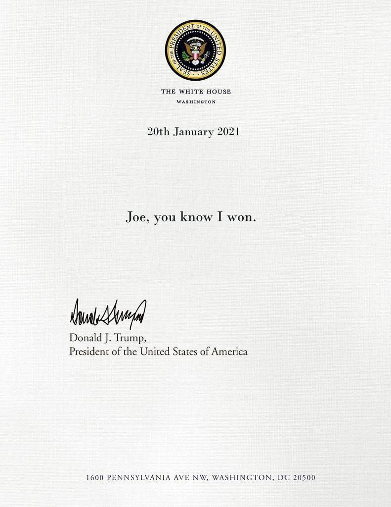 The letter from #45 to 46#: #Inauguration #TrumpsLastDay #Trump #Biden #JoeBiden #BidenHarrisInauguration #Amtseinfuehrung