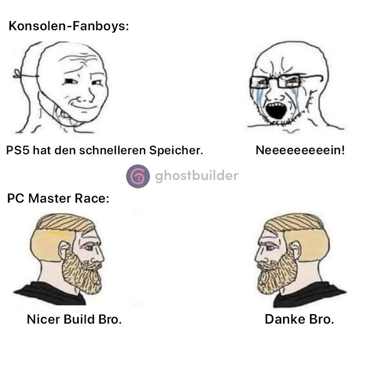 Der endlose Konsolenkrieg wird nie langweilig. #meme #ghostbuilder #DIY #Gaming #PCGaming #console