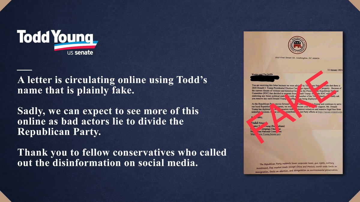 A letter is circulating online using Todd's name that is plainly FAKE.  Sadly, we can expect to seemore of this online as bad actors lie to divide the Republican Party.  Thank you to fellow conservatives who called out the disinformation on social media.