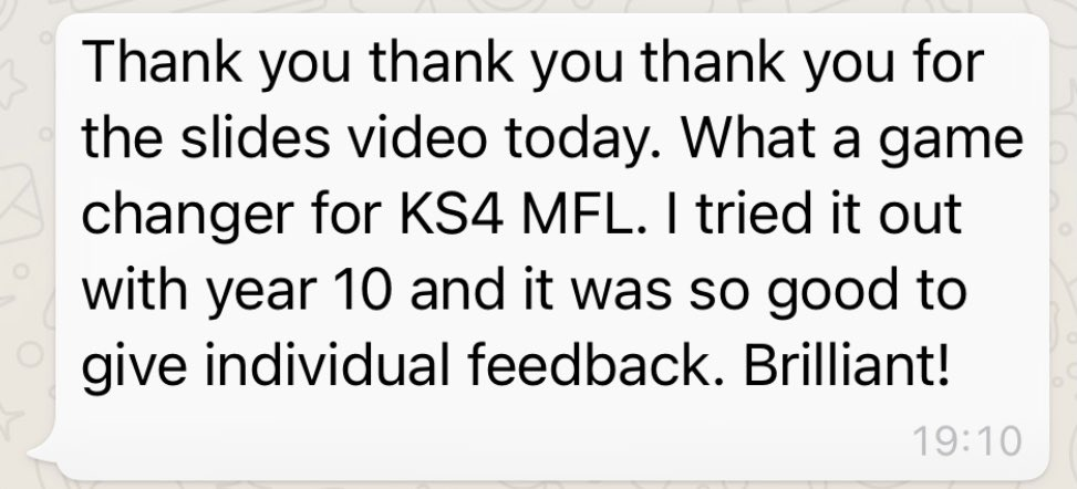 @teacherhead Tom, yesterday I recorded a staff cpd video for my school based on your two minute intro. Today I recieved this feedback 😀 #gamechanger