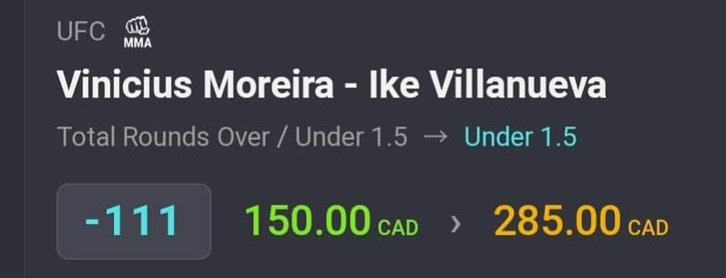 Villanueva/Moreira U1.5 (1.5u) @ -111 ✅  +1.35u 💰  +2u with 3 more bets to go.  #UFCFightIsland8