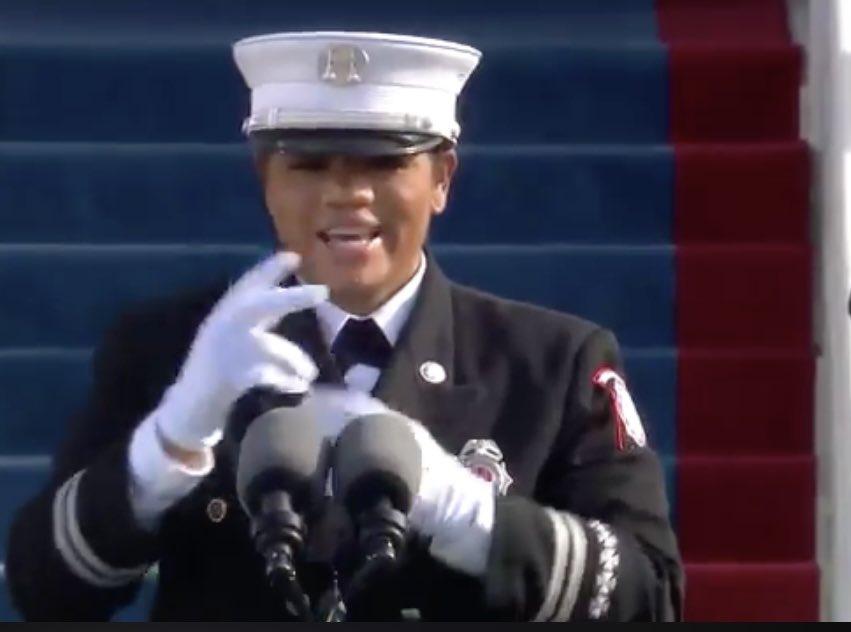 GA Fire Captain Andrea Hall #BlackGirlMagic #girlpower #Inauguration2021 #InaugurationDay2021 #CaptainHall #firewomen #AndreaHall #PresidentBiden #VicePresidentHarris #VicePresidentKamalaHarris #Georgia