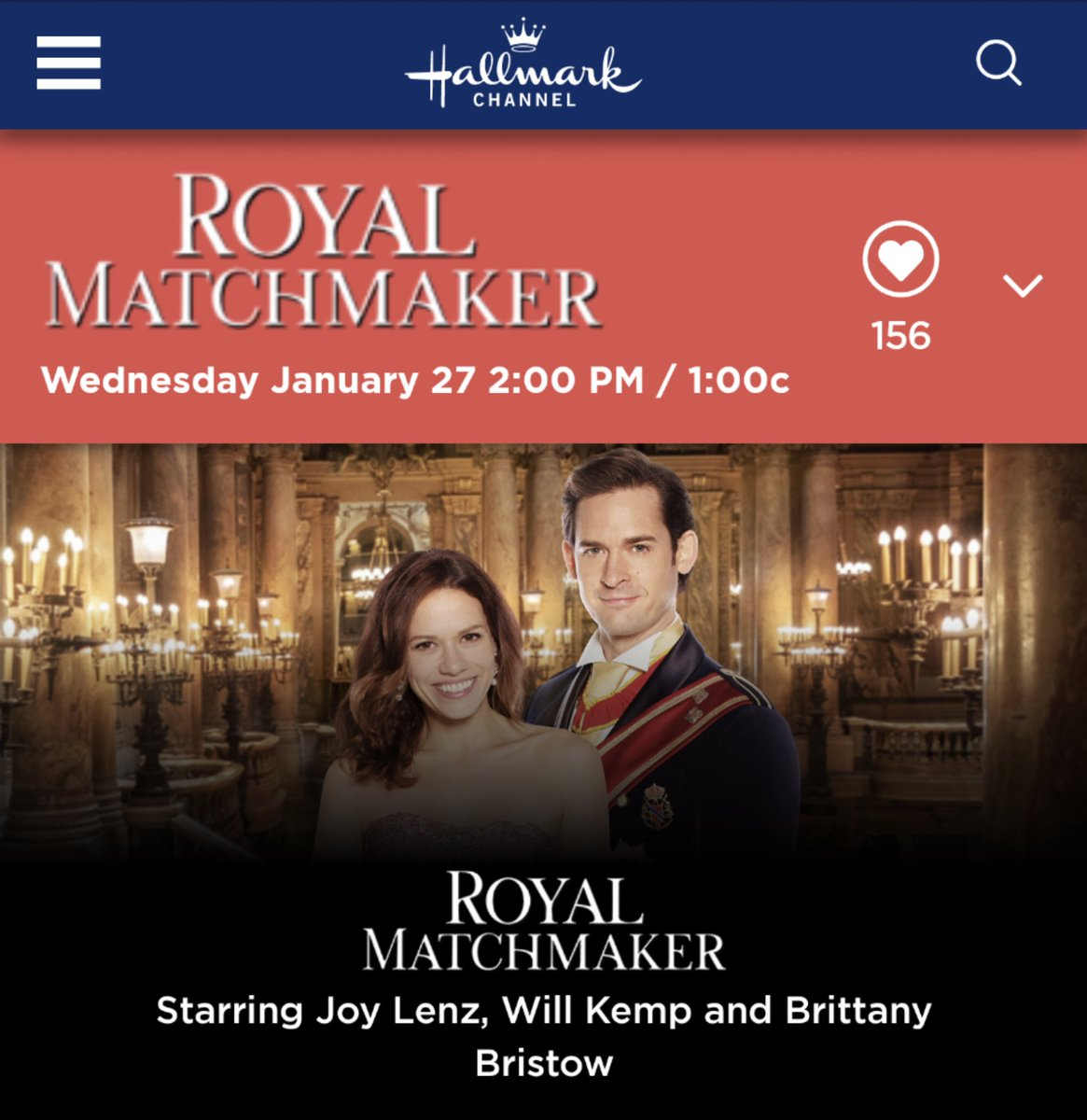 One week from today, Friends!  Loved @IamWillKemp  in #ChristmasWaltz?  You'll enjoy him with @BethanyJoyLenz  in #RoyalMatchmaker  @hallmarkchannel ! Be sure to DVR it! It's a keeper!