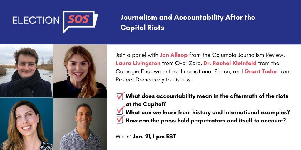 Let's discuss accountability. Join #ElectionSOS workshop with @CJR's @Jon_Allsop, @protctdemocracy's @g_tudor, @CarnegieEndow's @RachelKleinfeld & Over Zero's Laura Livingston.  Tomorrow at 1 pm ET: