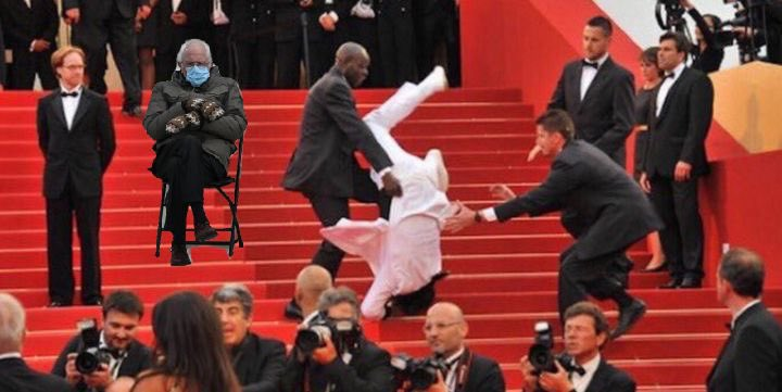 Bernie Sanders watches as Jason Derulo falls down the stairs at the inauguration!