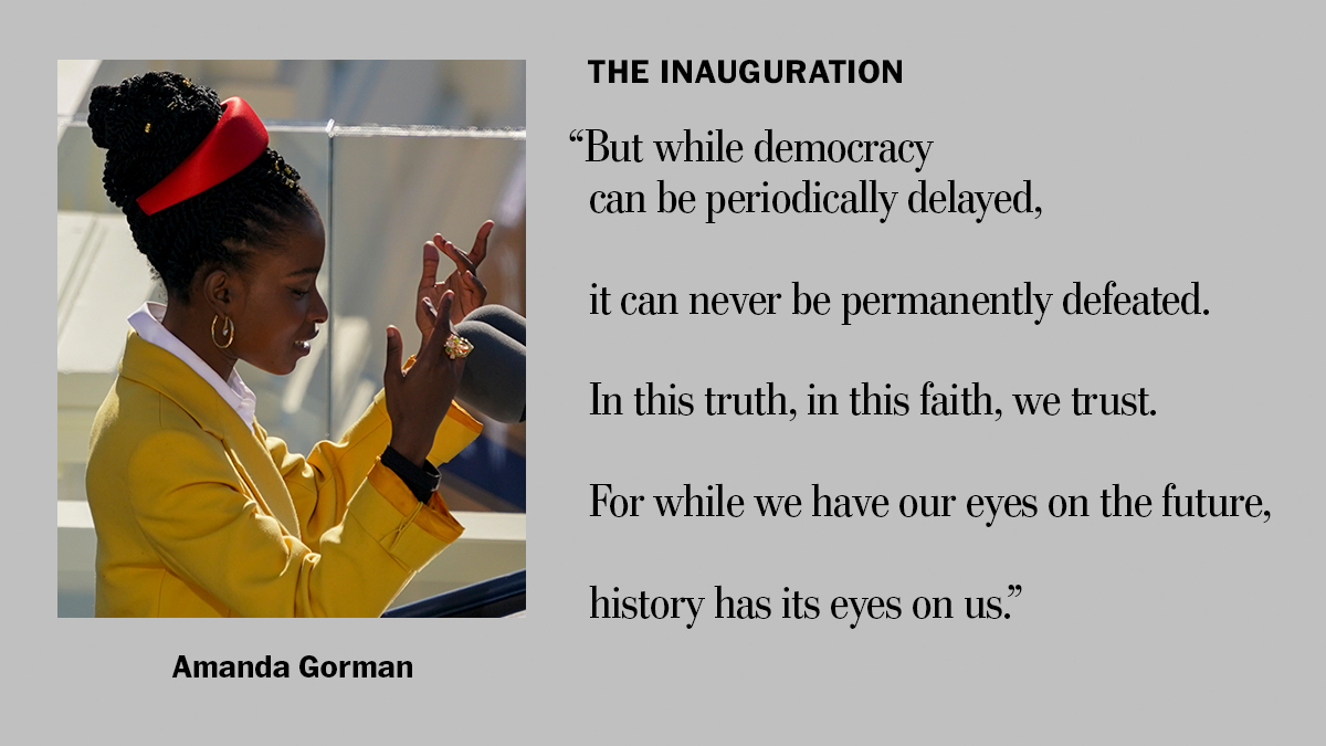 """The Washington Post on Twitter: """"Los Angeles poet Amanda Gorman delivered a  stirring poem at the inauguration, titled """"The Hill We Climb""""  https://t.co/ZNUjD87sZr… https://t.co/qwHyVAQ5L0"""""""