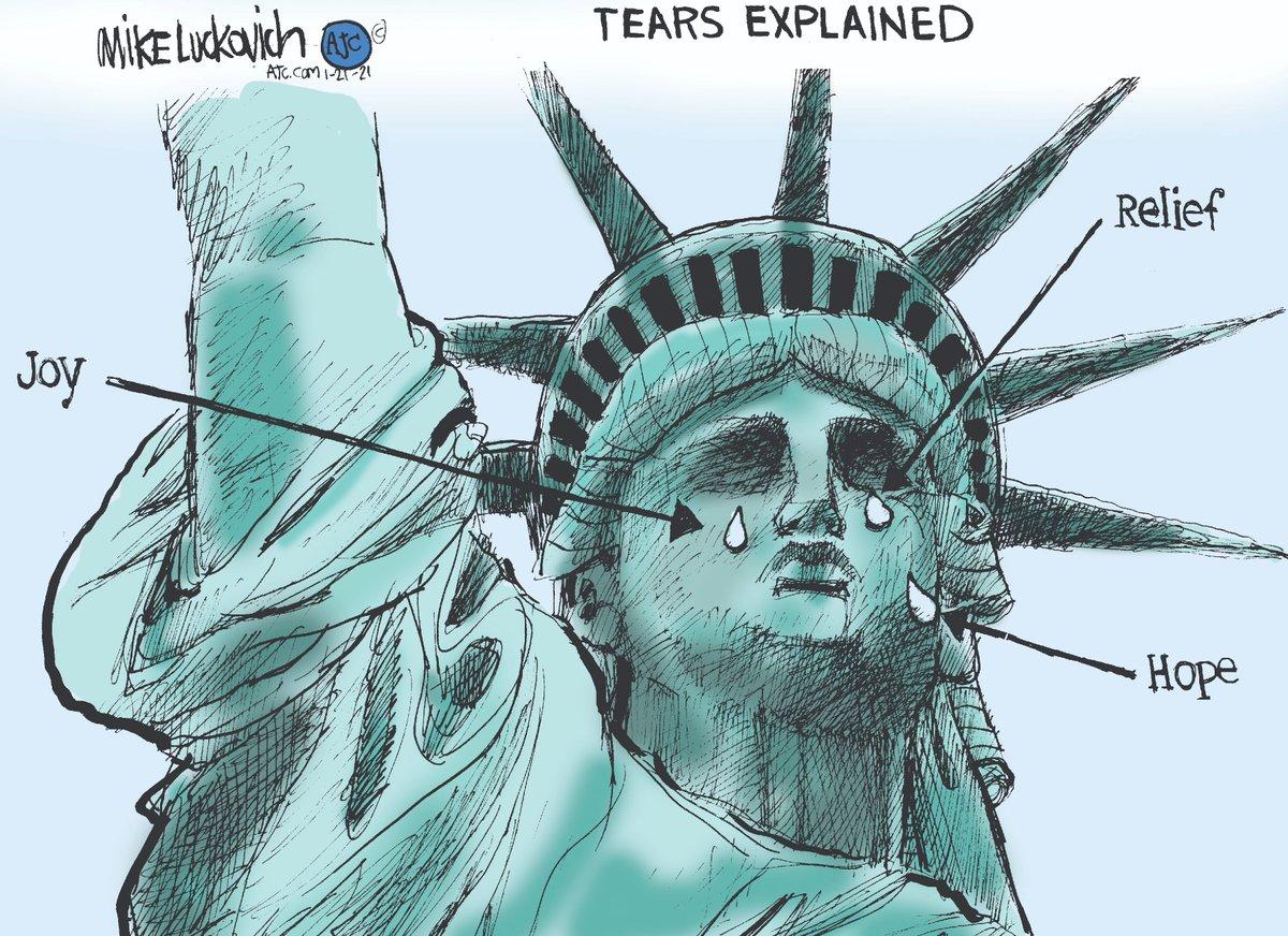 I'm not crying. You are crying.  #InaugurationDay  #DemocracyHasPrevailed🗽 #BetterDaysAhead🌅  [cartoon by @mluckovichajc]