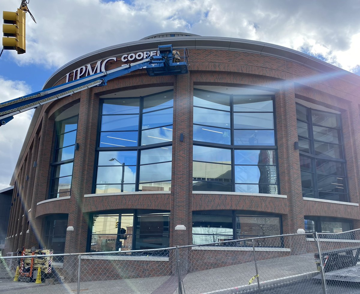 The UPMC Cooper Fieldhouse, a name that honors Chuck Cooper who played at Duquesne from 1947-1950, goes up on Duquesne'e arena today. Cooper was one the first African-American drafted by an NBA team by the Boston Celtics in 1950. @duqedu @chuckcooperfnd