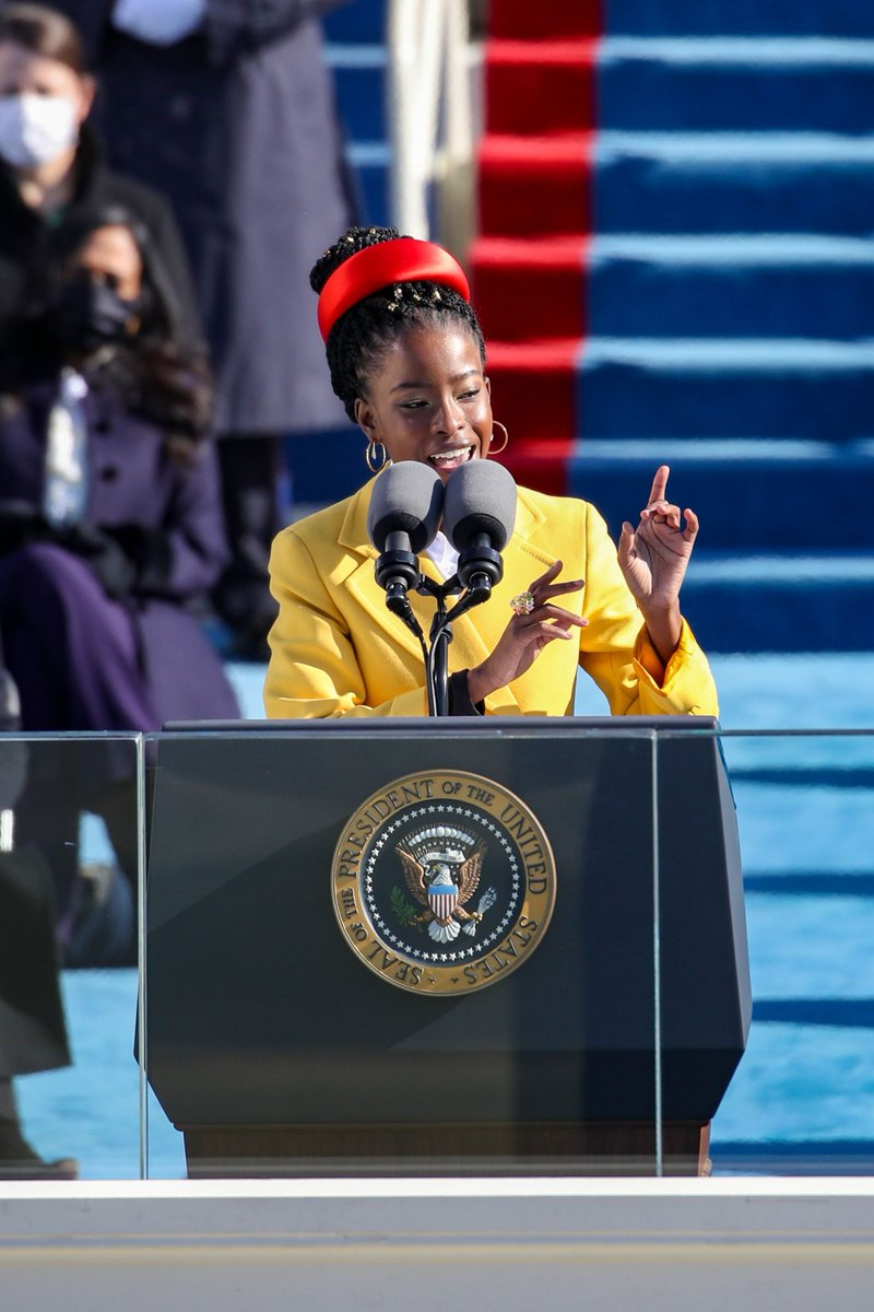 Thank you @TheAmandaGorman  for delivering such a powerful poem at today's inauguration. We all have work to do but your words gave us hope for tomorrow.  #Inauguration  #BlackGirlMagic at its finest.