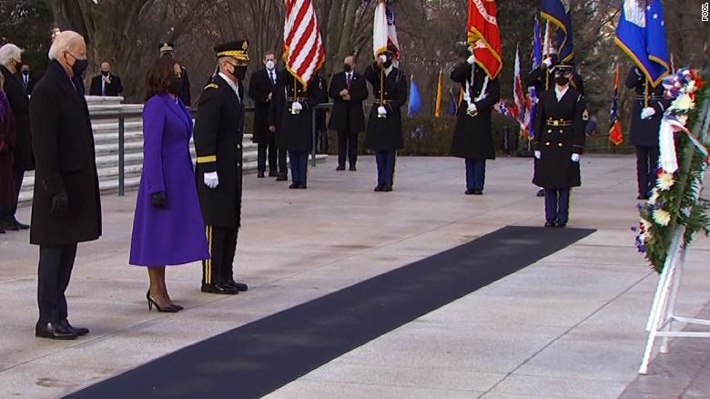 President Biden and Vice President Harris are joined by three former presidents for a wreath-laying ceremony at Arlington National Cemetery. Follow live updates: