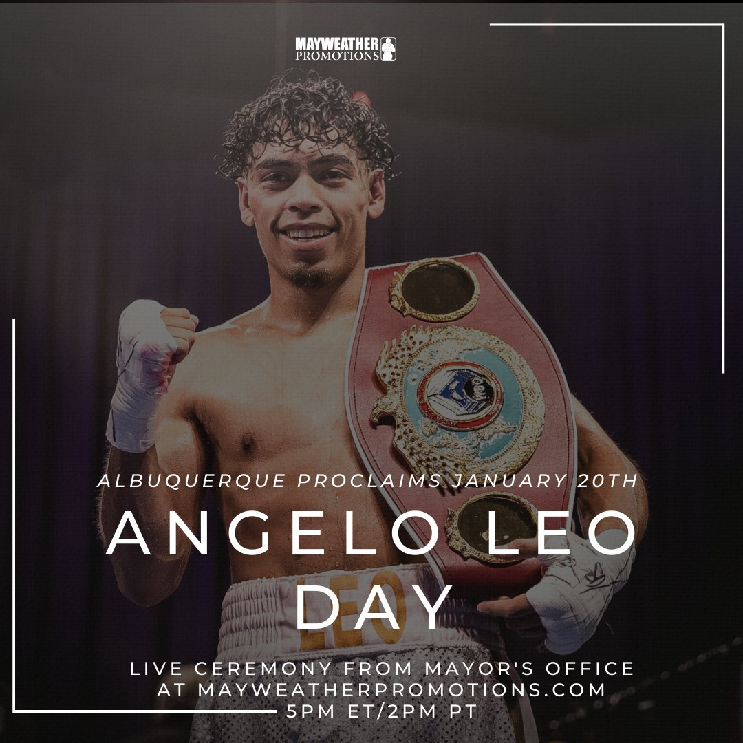 🚨 THE CITY OF ALBUQUERQUE PROCLAIM JANUARY 20TH ANGELO LEO DAY! 🚨 @AngeloxLeo1 joins a historical group of athletes, becoming the 5th sports figure to receive this honor.  📺 Watch it live today at 5pm ET/2pm PT at  #LeoFulton