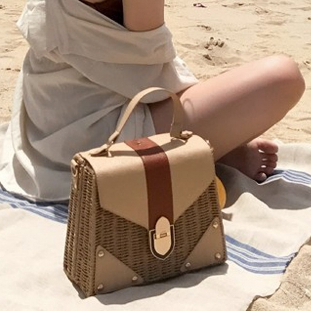 Women's Straw and Eco Leather Retro Handbag #food #tflers
