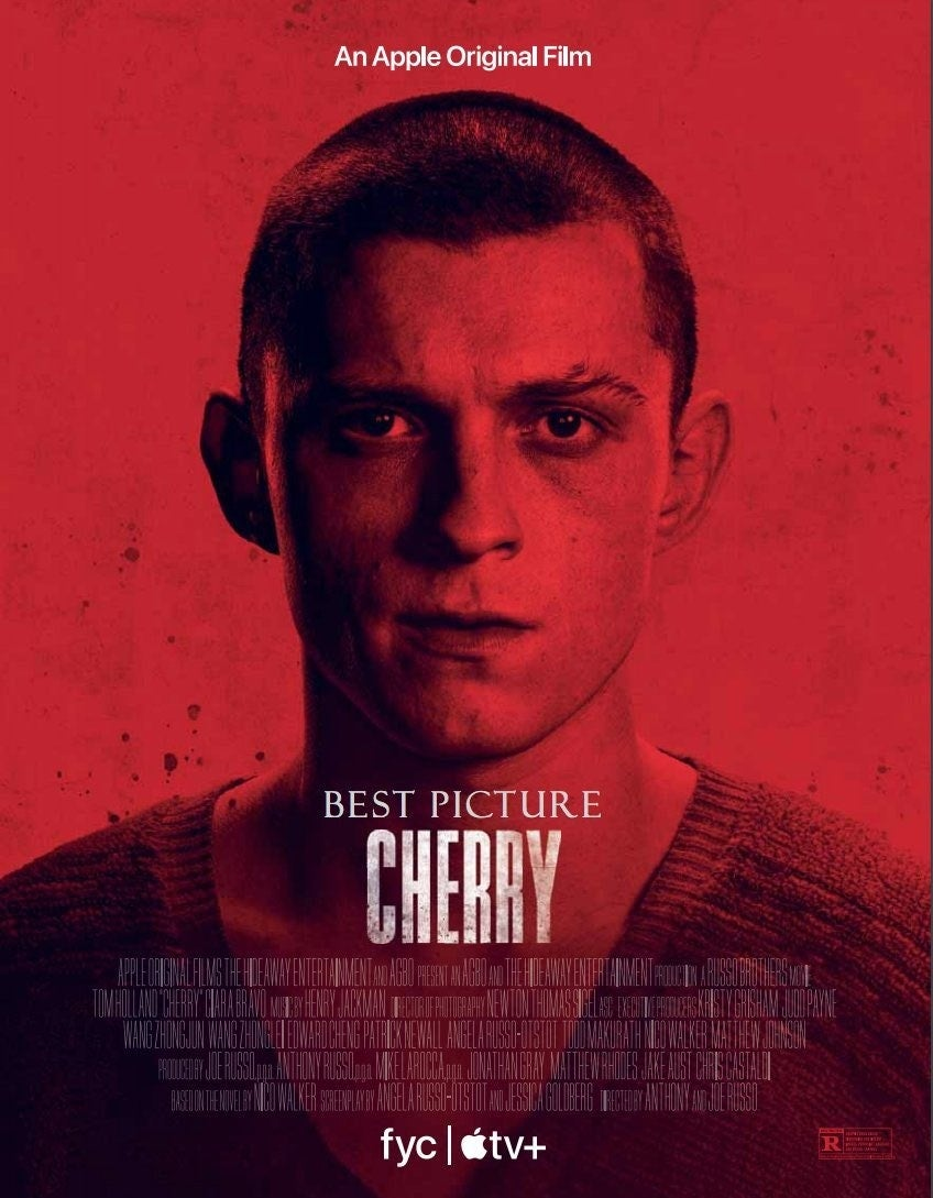 Pôster de Cherry - Inocência Perdida  Sem previsão no Brasil  #Cherry #CherryInocênciaPerdida #TomHolland #RussoBrothers #AnthonyRusso #JoeRusso #CiaraBravo #AppleTV