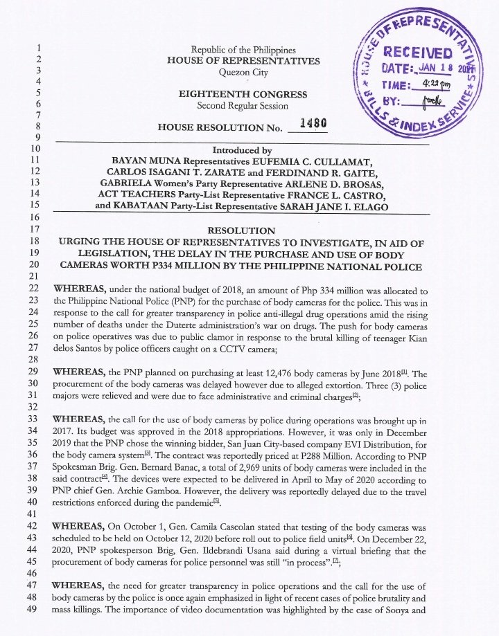 LOOK: The Makabayan bloc files House Resolution 1480 calling for a probe into the delay on the implemention of police body cams project. @rapplerdotcom