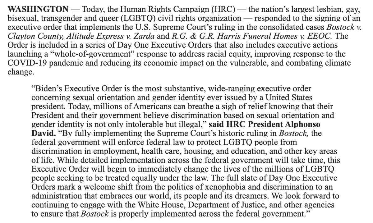 "BREAKING: Biden just signed an order enforcing the Supreme Court's historic ruling on LGBTQ+ workplace discrimination. @HRC calls it the ""most substantive, wide-ranging executive order concerning sexual orientation and gender identity ever issued by a United States president."""
