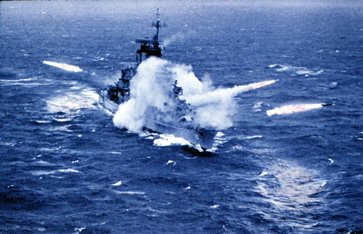 #OTD in 1963, the cruiser USS Albany (CG-10) became the first ship to fire three guided missiles simultaneously when it launched Tartar and Talos surface-to-air missiles from the forward, aft and one side of the ship.