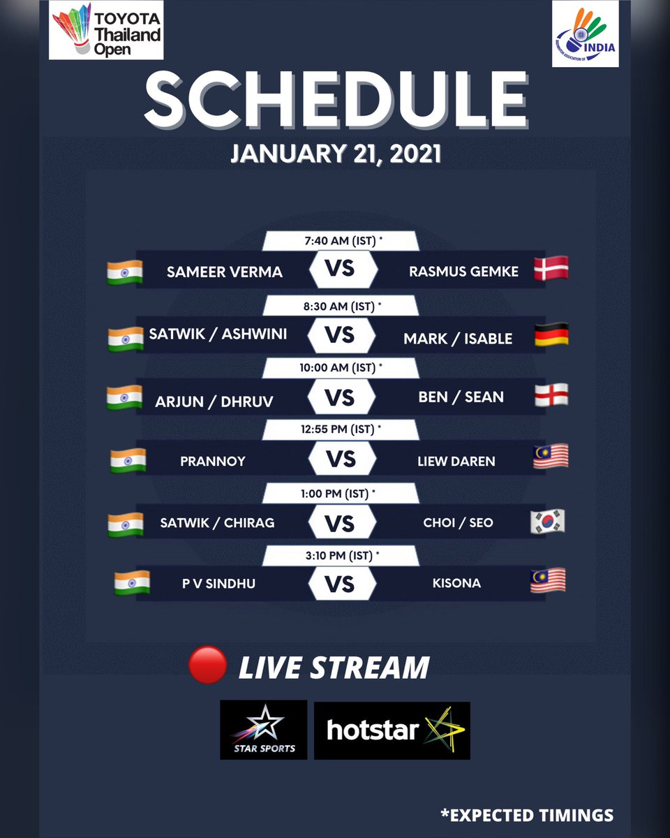 𝐒𝐂𝐇𝐄𝐃𝐔𝐋𝐄! 📌  MATCHDAY 3️⃣  8️⃣ 🇮🇳 shuttlers will be in action. 💪  🔴 LIVE STREAM: @DisneyplusHSP & @StarSportsIndia .   All the best, guys! 🙌  #ThailandOpen2021  #ToyotaThailandOpen2021  #badminton