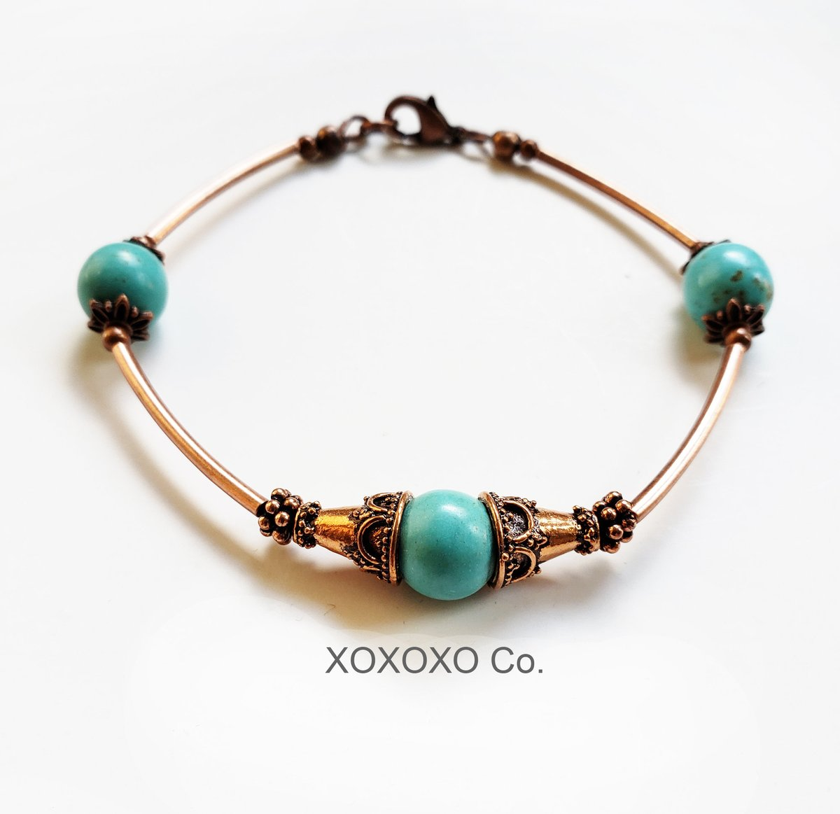 Copper Bracelet with Turquoise Beads and Copper Tube Beads  #Etsy #style #fashion #jewelryblogger #handmade #shopsmall #christmasgifts #giftsforher #handmadejewelry