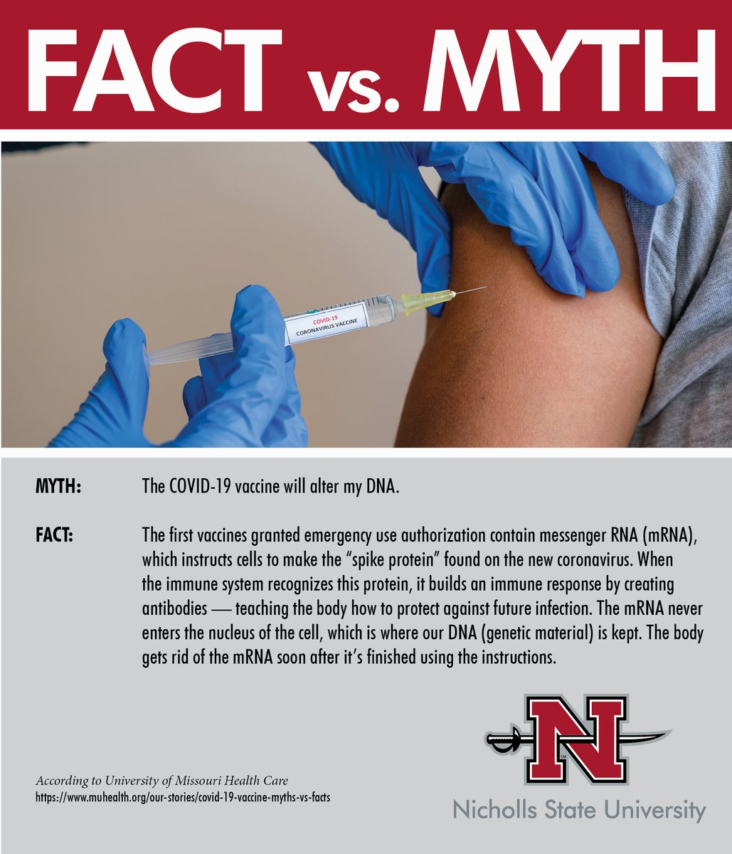 We want to help you cut through all the myths and get to the facts. The COVID-19 vaccine will help reduce the amount of positive cases on our campus and in our community. #MaskUp #FlattenTheCurve