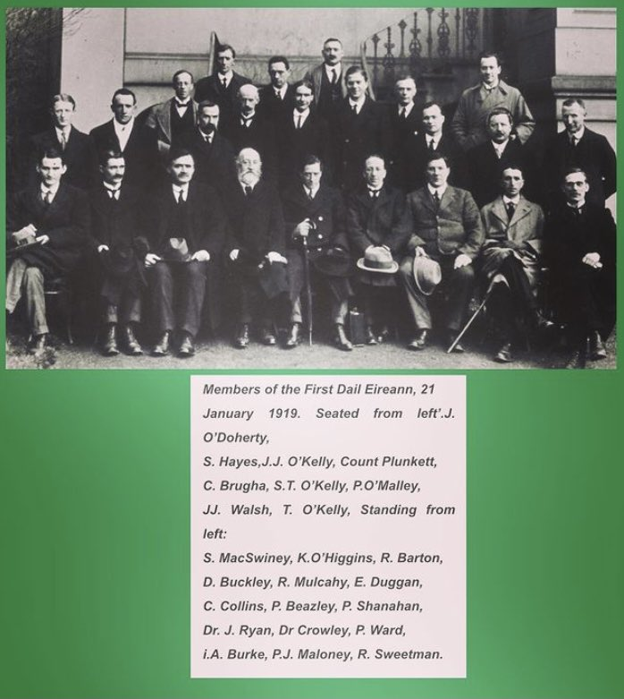 """#OTD 21 January 1919 First meeting of Dáil Éireann  (""""Assembly of Ireland""""). They declared Irish independence, ratifying the Proclamation of the Irish Republic that had been issued in the 1916 Easter Rising, & adopted a provisional constitution."""