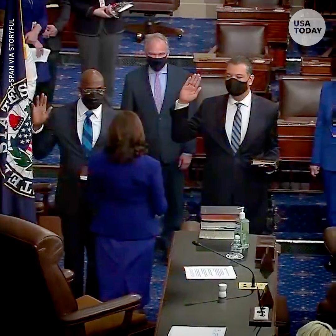 "How Vice President Kamala Harris swearing-in three new senators turned ""very weird."""