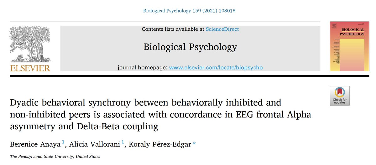 New paper from co-1st authors @B_Anaya15 & @AliciaVallorani w/ @Dr_Koraly trying to keep up. Q: Does behavioral inhibition (a temperamental risk for soc anx) assoc w/ dyadic bhvrl synchrony in young kids? Q: Do EEG-derived measures track synchrony? Lets see: 1/