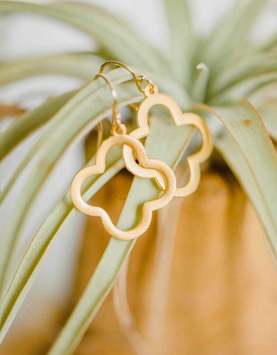 """Thanks for the kind words! ★★★★★ """"Gorgeous and just as pictured."""" gabrielle  #etsy #wedding #jewelry #earrings #gold #quatrefoil #cloverjewelry #geometricearrings #modernjewelry #star"""