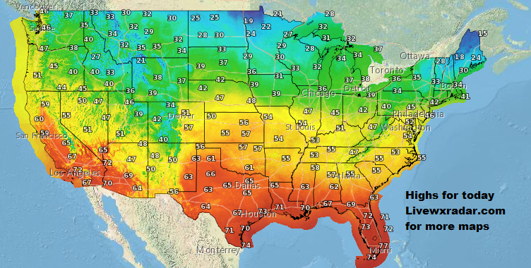 Highs for today.         Weather at             #wx #weather  #flooding  #nice    #rain #storm #temps  #Freezing #cold# colder #cooling  #lows #usa #nws #news #heat   #Thursday    #night #week #day