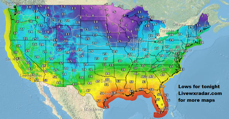 Lows for tonight.       Checkout   Temps and Weather at             #wx #weather  #flooding  #nice    #rain #storm #temps  #Freezing #cold# colder #cooling  #lows #usa #nws #news #heat   #Thursday    #night #week #day