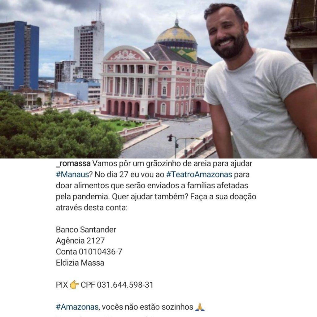 JUNTOS POR MANAUS! Participe da campanha do ator @RodrigoMassa  onde todo o valor será revertido p/ a doação de alimentos às vítimas de #Manaus. Se puder, DOE! #Compartilhe 👇🏼 Banco Santander-Agencia 2127 Conta 01010436-7. Eldizia Massa Pix: CPF:031.644.598-31 #BBB21 #Gênesis3