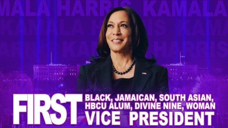 "Kamala Harris. ""Jamaica Wi Reach"". Shattered Glass Ceilings. #Inauguration  #MadameVicePresident"