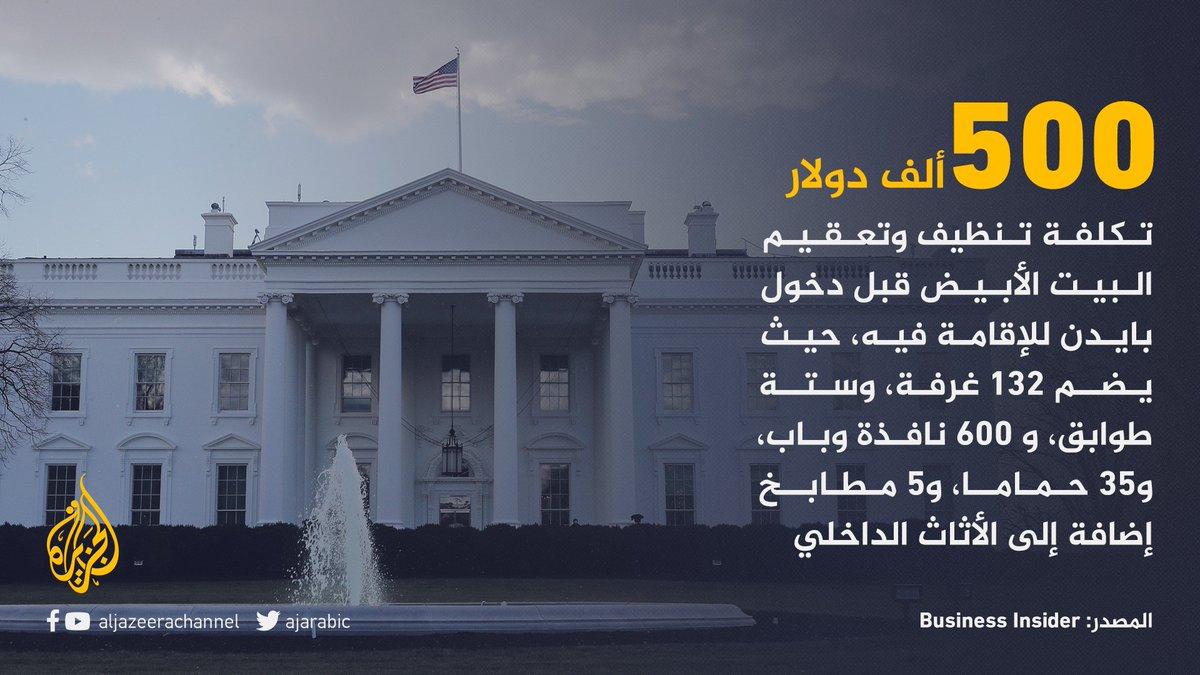 نصف مليون دولار تكلفة تعقيم البيت الأبيض لاستقبال ساكنه الجديد جو #بايدن #الجزيرة_أمريكا20