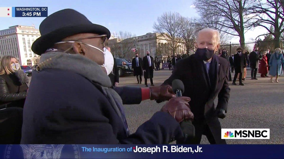 """.@alroker: """"It's been three hours, how does it feel Mr. President?""""  President Biden: """"It feels great"""""""