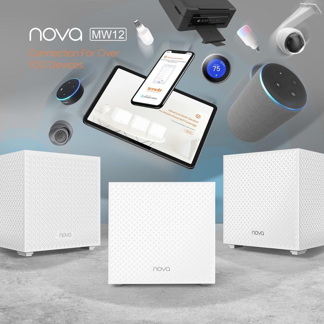 With NOVA MW12 you have compatibility and instant connection with more than 100 devices at the same time.   #allforbetternetworking #tendamea #tenda #nova #mesh #wifi #covergae #triband #internet #technology https://t.co/1caF640wYP