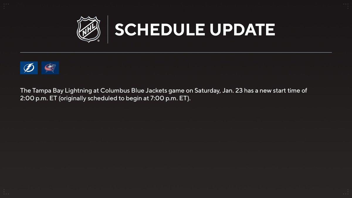 Replying to @PR_NHL: NEW START TIME:  @TBLightning vs. @BlueJacketsNHL Saturday, Jan. 23 at 2:00 p.m. ET