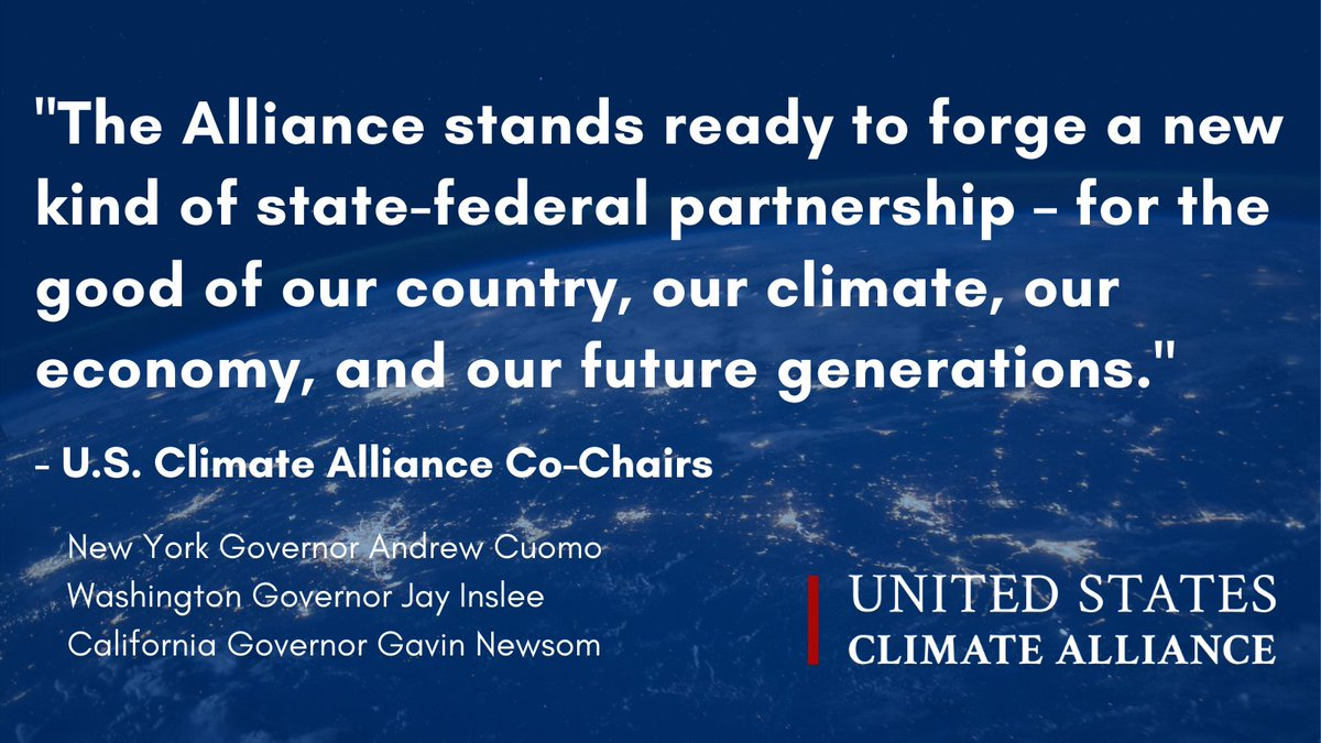 NEW: U.S. Climate Alliance lauds @POTUS Biden's order to rejoin the #ParisAgreement, commits to new kind of state-federal climate partnership.   ➡️Full Statement: